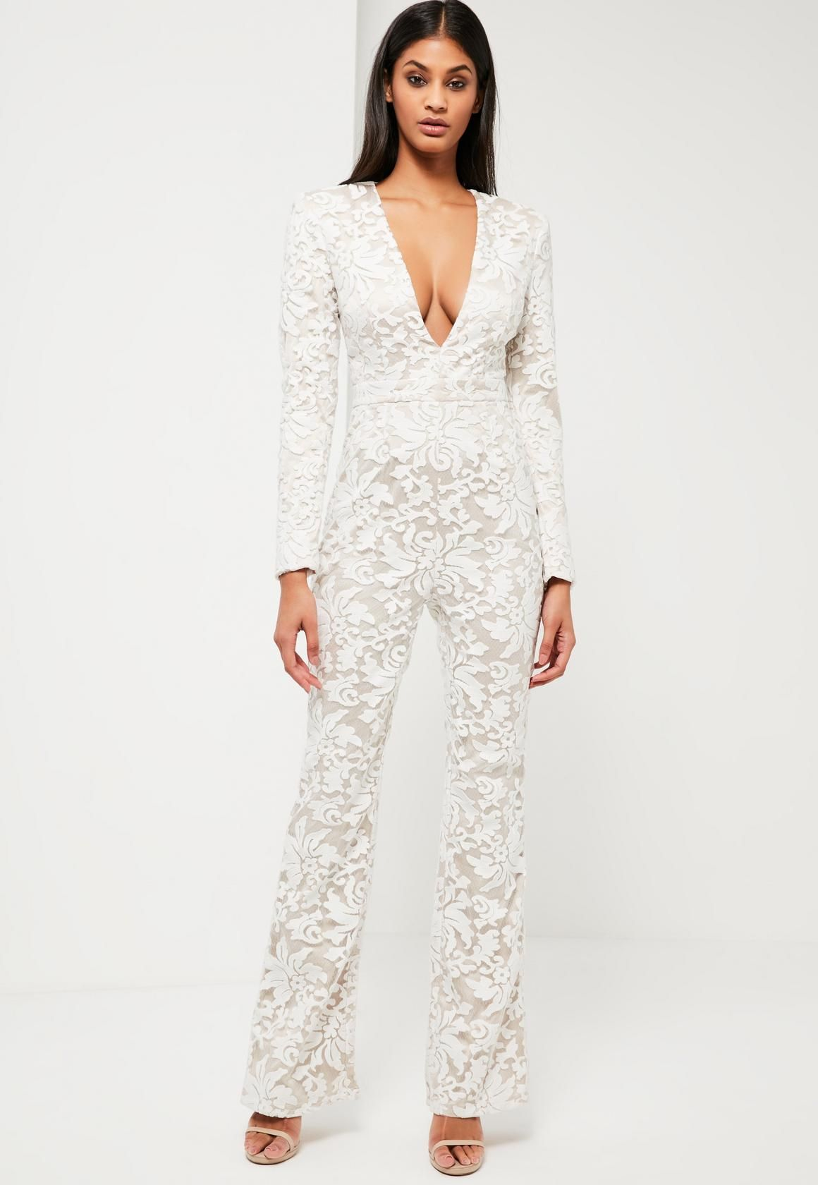 7af435c146f Missguided - Peace Love White Lace Plunge Jumpsuit