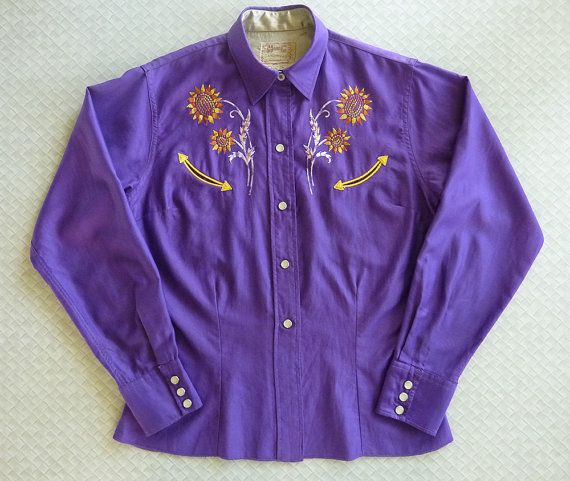 H Bar C Exclusive Design Vintage Womens Western Shirt Purple W Golden Yellow Sunflower Floral Embroidery
