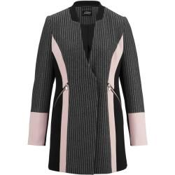 Photo of Amy Vermont, long blazer with contrasting collar, black Amy Vermont