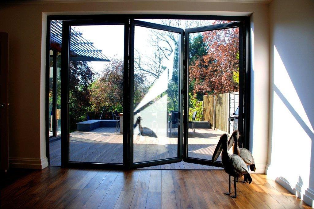 New Quality Aluminium Bi Fold Doors Inc Glass 3 Panels Ral 7016 Anthracite Grey Bifold Patio Doors Bifold Doors Folding Glass Doors