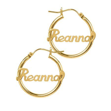 Personalized 14k Gold Over Sterling Silver Tube Hoop Script