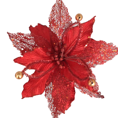 Artificial Poinsettia Red Sinofloral Poinsettia Christmas Stem Flowers