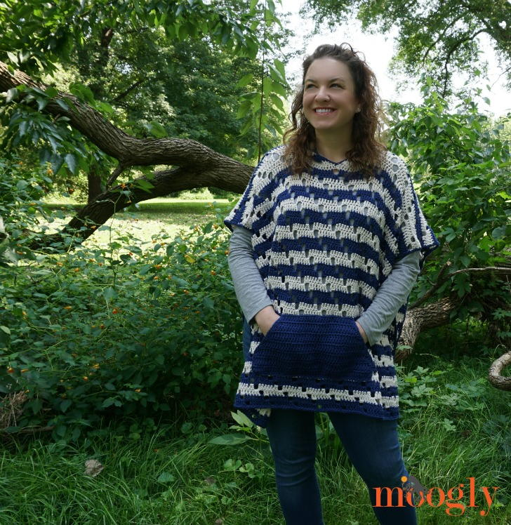 Chic Moves Crochet Poncho #crochetponchokids The Chic Moves Crochet Poncho features bold stripes, an easy diagonal stitch pattern, pockets, and a hood - what more could you want? I had fun combining the horizontal stripes with a diagonal mesh pattern, creating lots of movement in the fabric! The pocket and hood are both optional, but personally, I love them both! All together they create a cozy warm crochet poncho that's just fun to wear! #crochetponchokids
