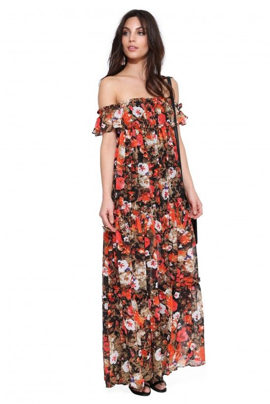 Floral Off The Shoulder Maxi Dress in Multi   Necessary Clothing