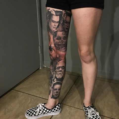 Nessaurelia Horror Tattoo Movie Tattoos Leg Tattoos