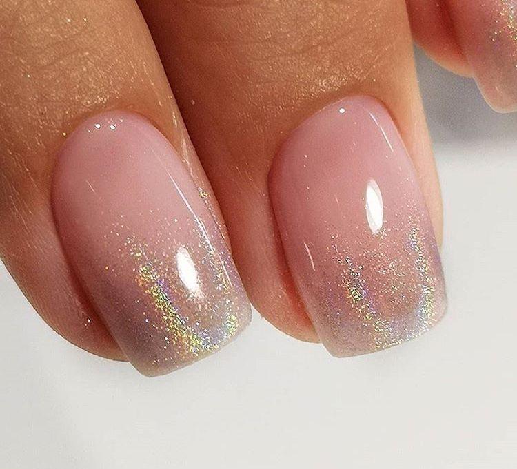 Subtle Shimmer Tips On Natural Nails Cute Summer Nail Designs Pink Nails Cute Summer Nails