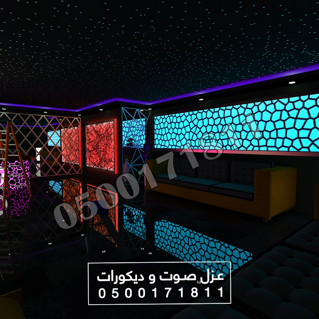 تركيب الياف ضوئية و لوحات لكسان و ديكورات مضيئة و عزل صوت الرياض Ceiling Design Design Ceiling
