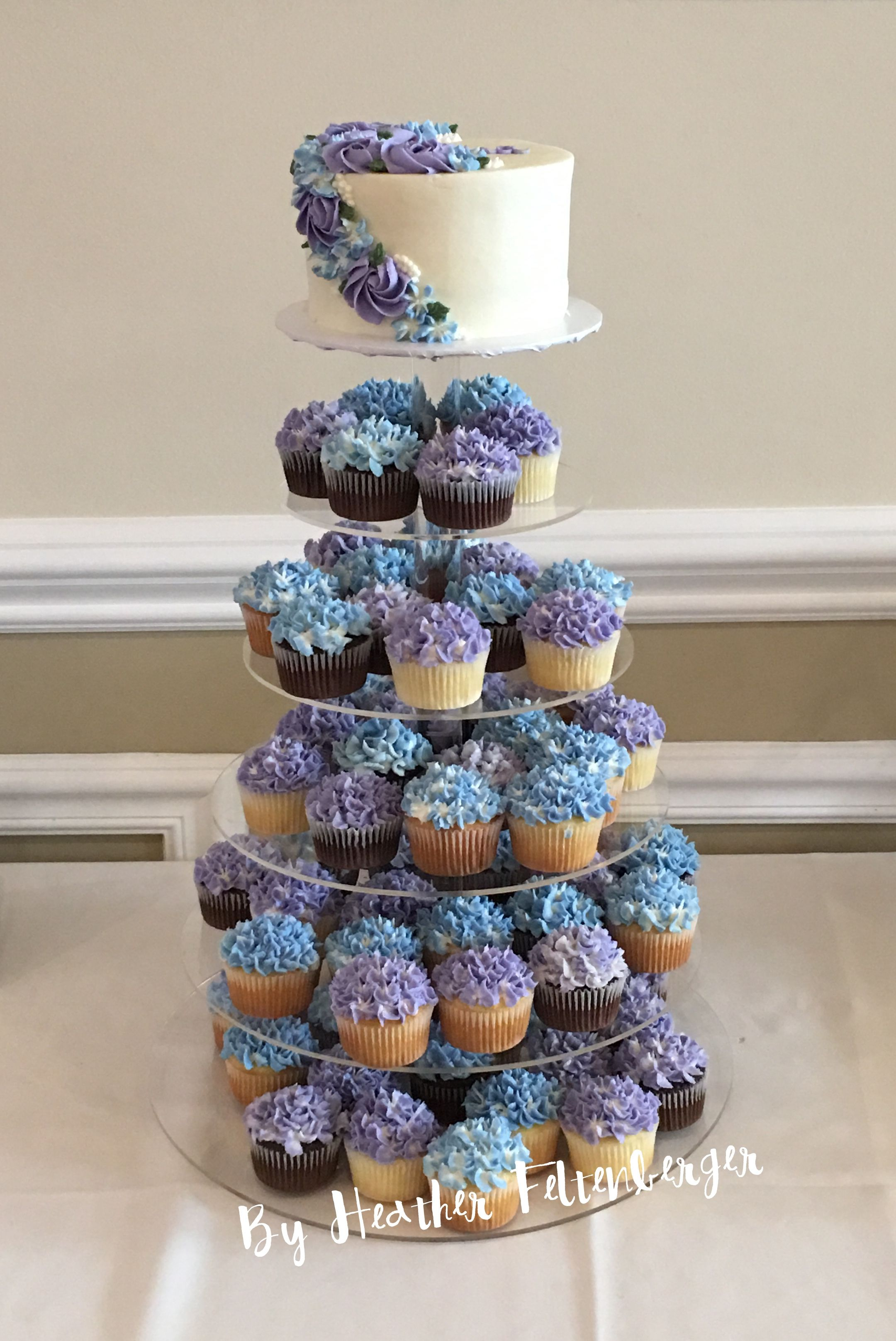 Blue And Purple Hydrangea Cupcake Tower Purple Wedding Cupcakes