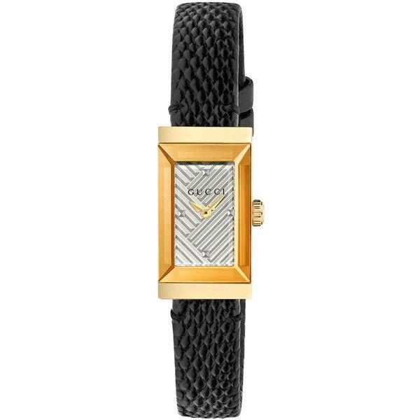 76b73a7e45a Gucci Women s Swiss G-Frame Black Lizard Leather Strap Watch 14x25mm ...
