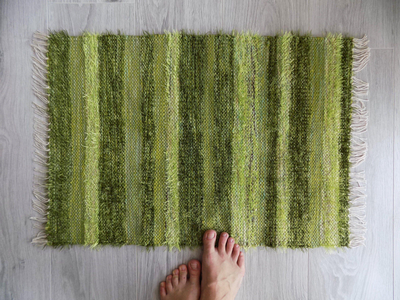 Olive Green Bath Mat Small Woven Rug, Green Bathroom Rug