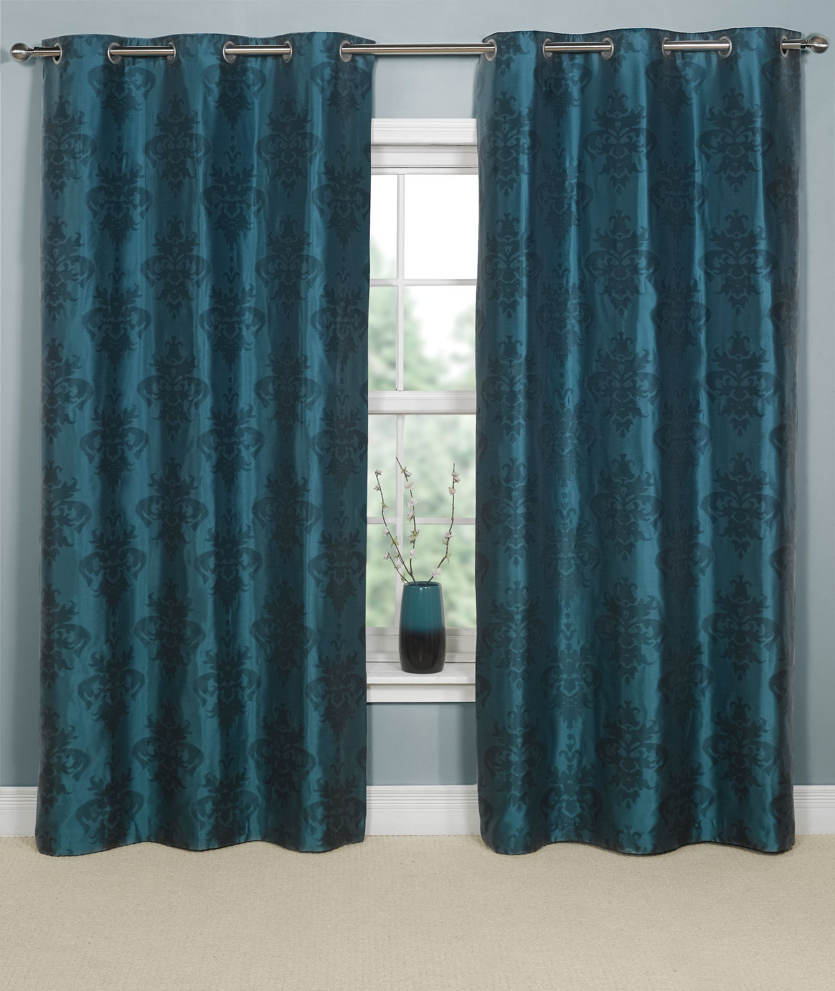 teal and brown curtains | Office | Pinterest | Brown ...