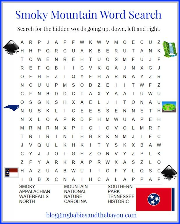 Smoky Mountain Word Search | Family Travel Across the U.S & Abroad ...