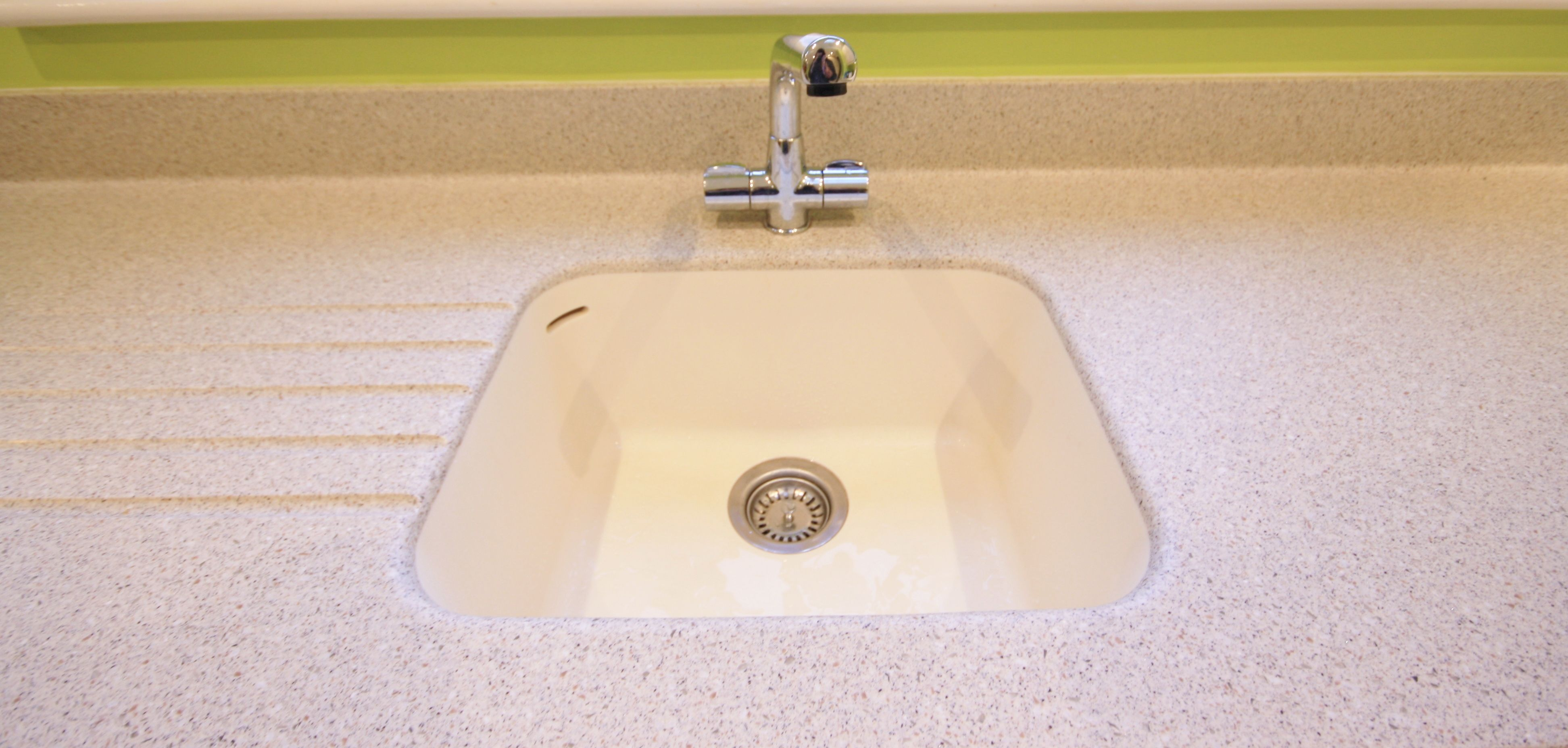 Composite Mistral Worktop With Corian Sink In Vanilla   Seamless Sink,  Making It Easier To Clean.