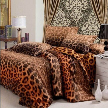 Diaidi Leopard Animal Print Bedding Sanded Luxury Duvet Cover King Size Comforter Set Cotton Active Bed Sheets 4pcs