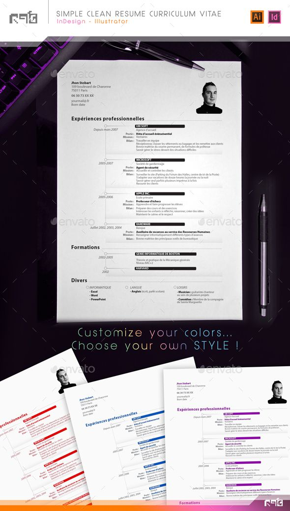Sober and Clean CV Resume with Timeline