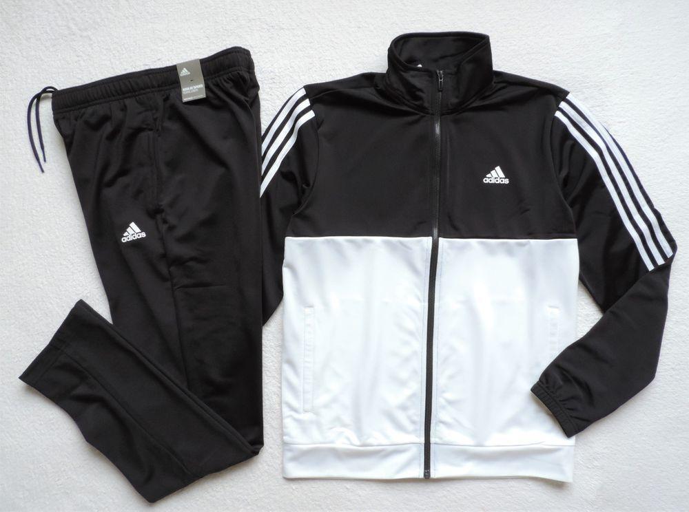 ae25f01aca4e Adidas Men's Athletics Basics 3-Stripes Track Suit 2-Piece, Black/White # adidas #TracksuitsSweats