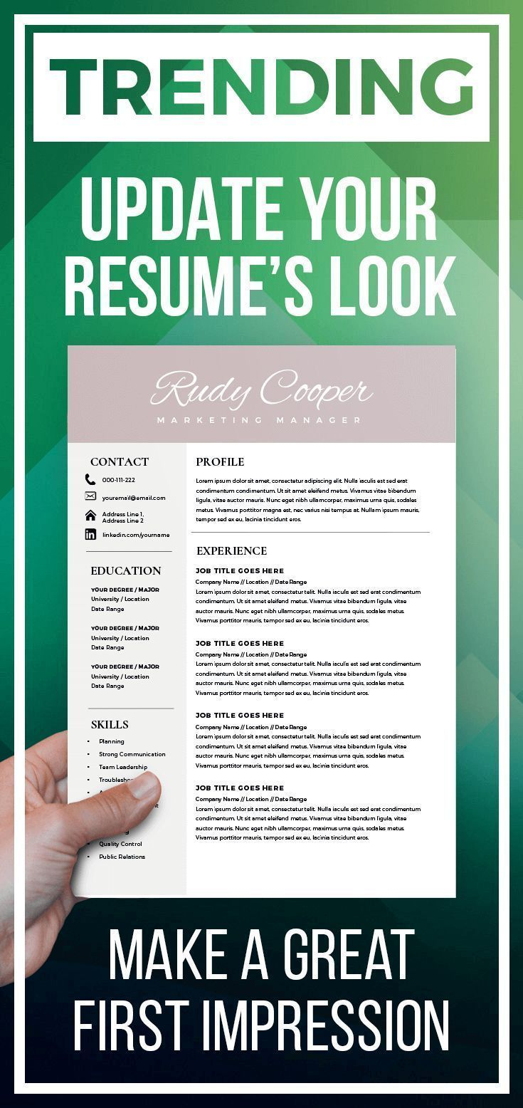 Professional Resume Template Instant Download 1 2 Page Resume