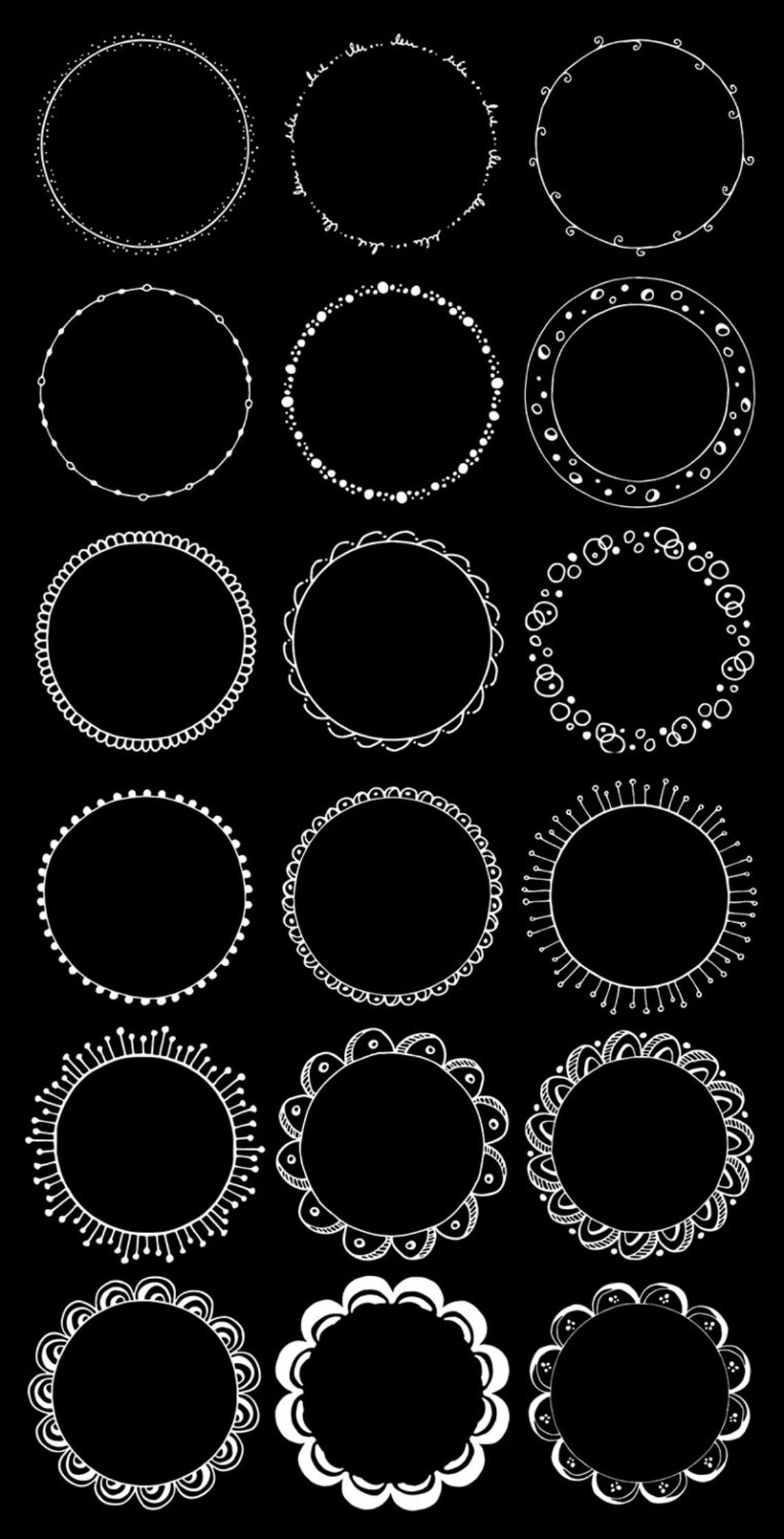 Round Frames Clipart Hand Drawn Circles Clipart Floral Boho Tribal Doodle Clip Art Waves Leaves Flowers Digital Circle Borders Png How To Draw Hands Circle Borders Digital Frame