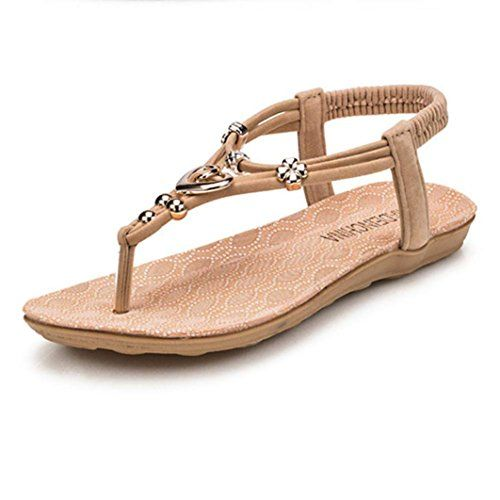 64ca3ec3bf7 Voberry Womens Ladies Summer Thong Sandals Flats Toe Flip Flops Casual Boho  Beach Shoes 45 Beige *** Want additional info? Click on the image.
