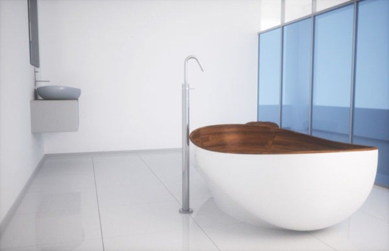 Elegant Bathroom Appliances And Furniture With Wooden Inserts by