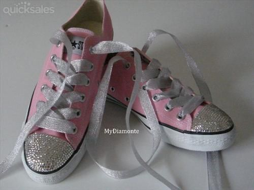 10d6df63057c84 Light Pink Converse Shoes Featuring Swarovski Crystals COO31 ...