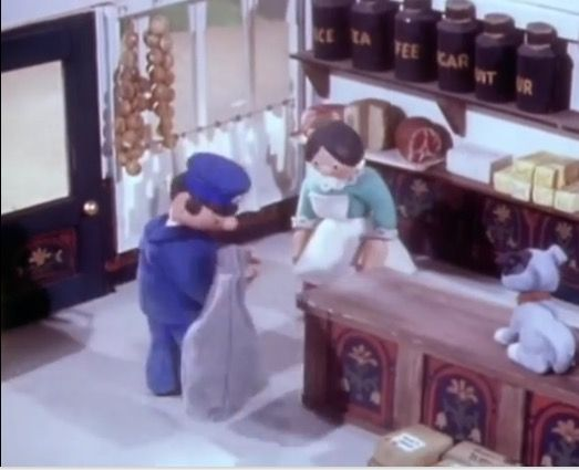Peter the Postman and Mrs Dingle in the Post Office