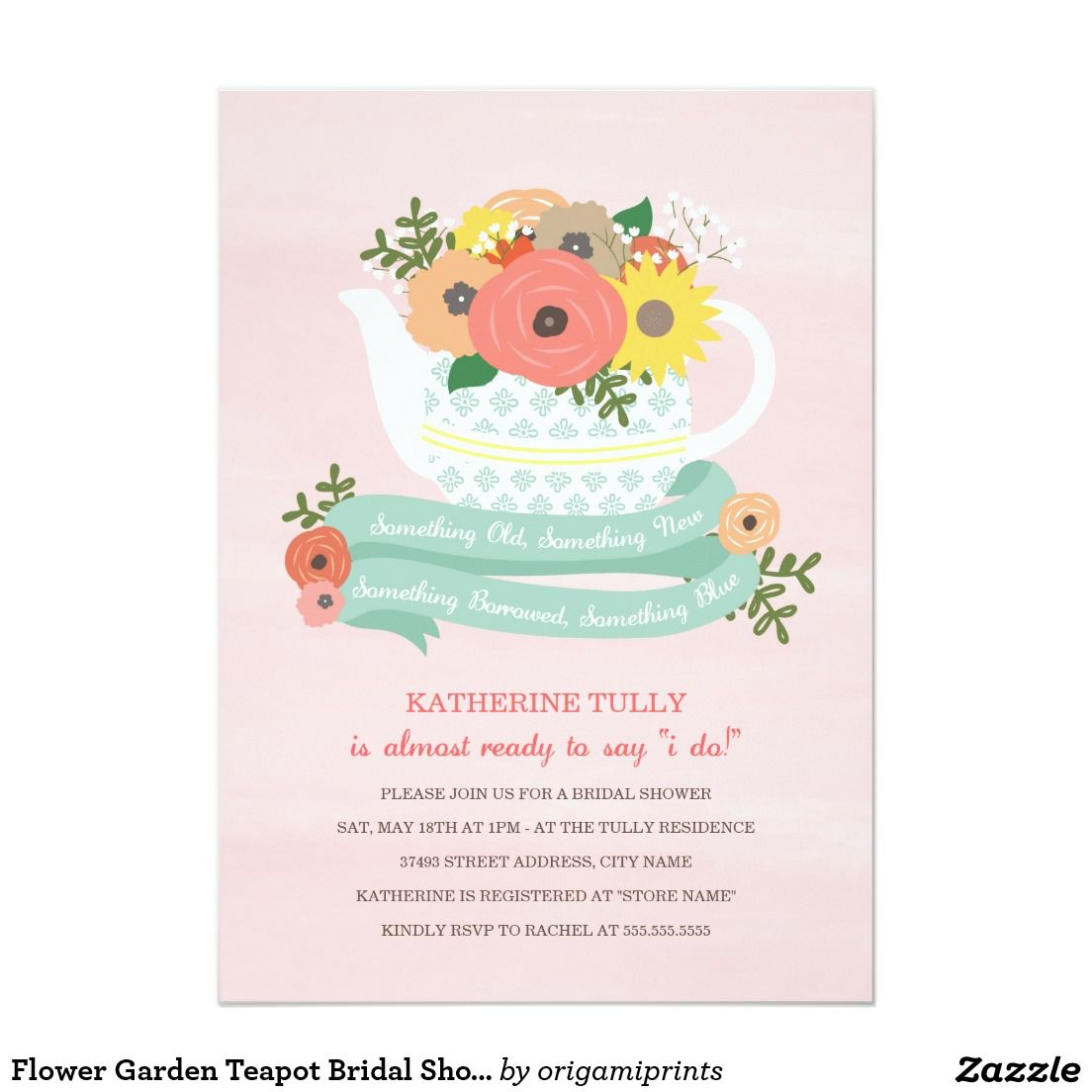 Flower garden teapot bridal shower invitation bridal shower flower garden teapot bridal shower invitation filmwisefo