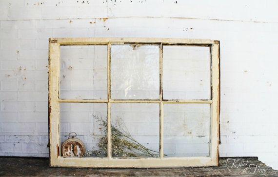 Antique 6 Pane Wooden Window - 36 x 27 | Pinterest | Wooden windows ...