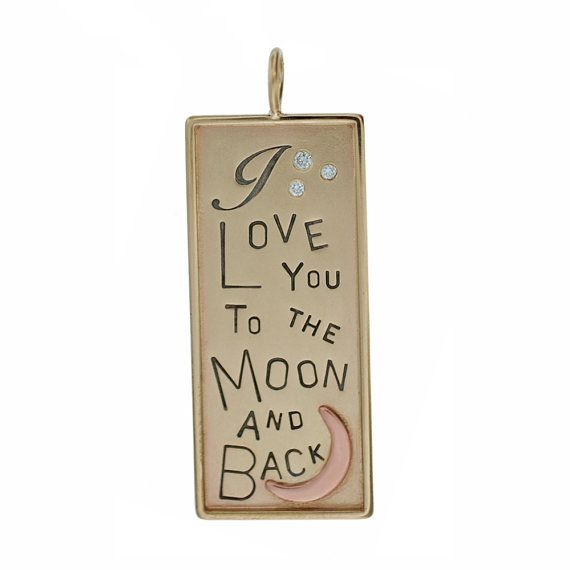Solid 14K Gold Rectangle Pendant Hand Stamped Love You To The Moon and Back Charm Personalized Custom Engraved Artisan Handmade Fine Jewelry
