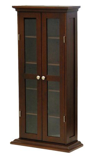 Winsome Wood CD/DVD Cabinet With Glass Doors, Antique Walnut Winsome  Wood,http