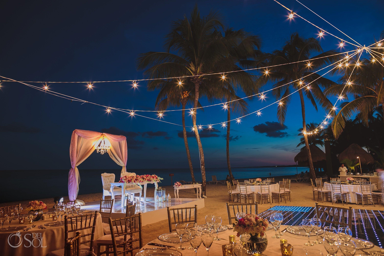 Epic Beach Dreams Tulum Indian Wedding Reception Table Setup Night Beach Weddings Dreams Tulum Romantic Beach Wedding