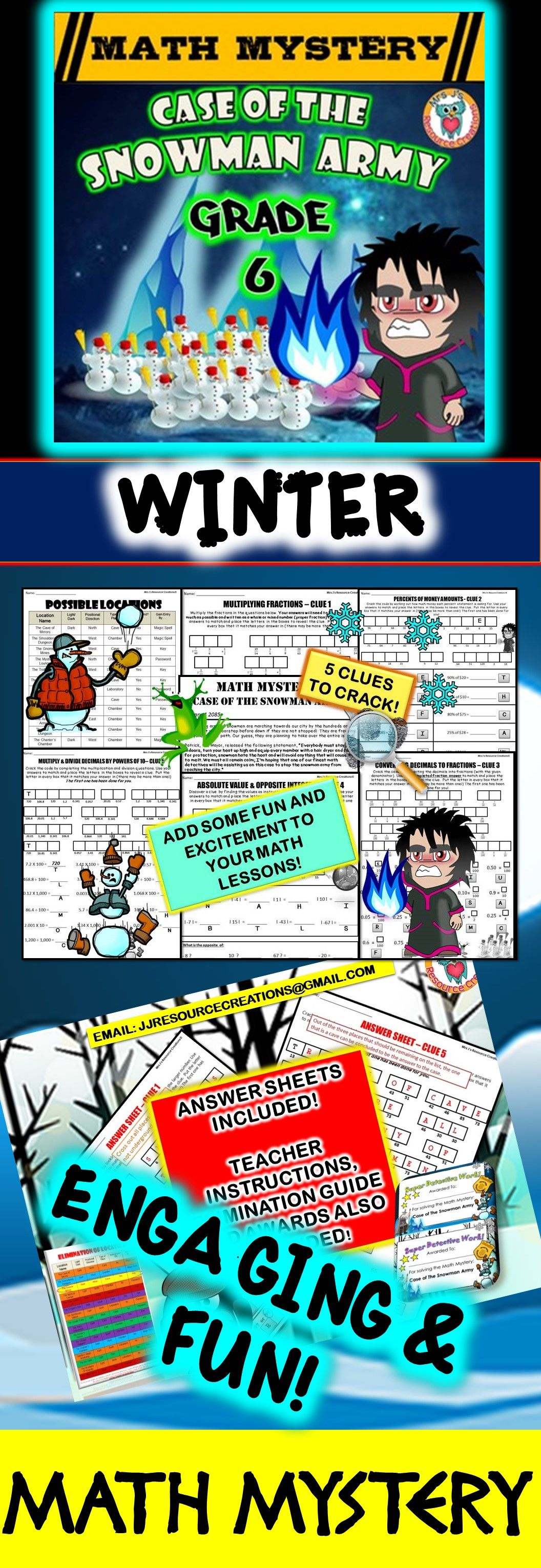 6th Grade Winter Math Activity: Math Mystery - Case of the Snowman ...