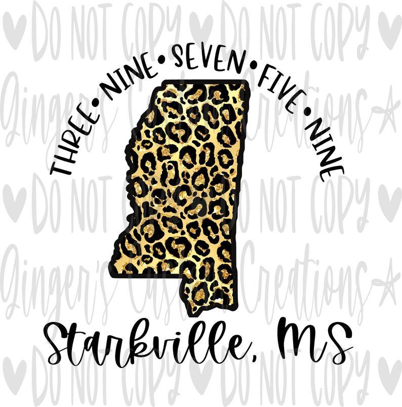 Starkville MS Leopard State ZIP Code Sublimation Design