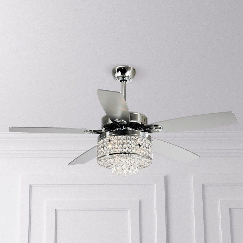 52 Noyes Modern Crystal Chandelier Ceiling Fan With Led Light And Remote Control 5 Blades Chrome Chandelier Fan Ceiling Fan With Light Ceiling Fan