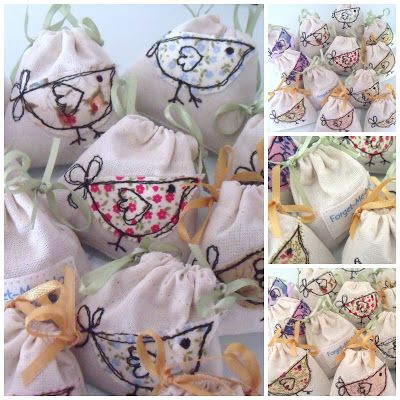 Forget-Me-Not Crafts, Freehand Machine Embroidery Mini Lavender Bags.