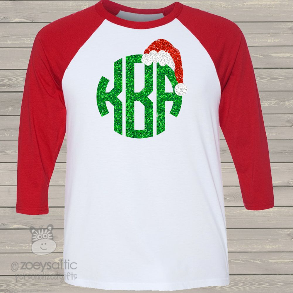 monogram glitter shirt, sparkly Santa hat, adult colorblock raglan shirt