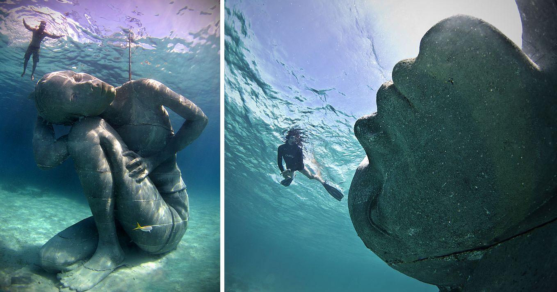Inmensa Estatua Submarina De Una Mujer Sosteniendo El Océano Sobre Sus Hombros | Bored Panda