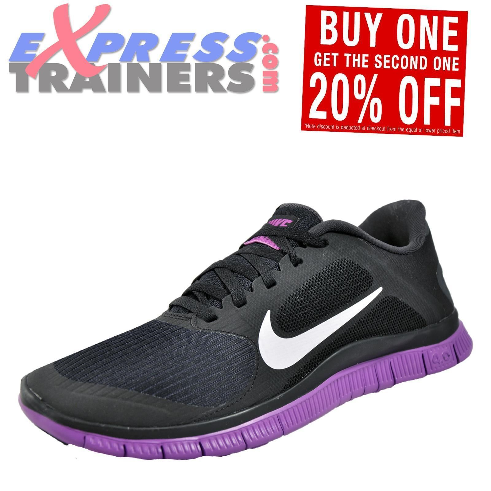 dacd7f7836b Nike Free 4.0 V3 Womens Running Shoes Fitness Gym Trainers Black Uk ...