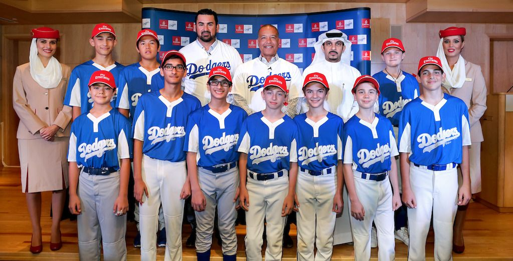 Emirates Partners With Los Angeles Dodgers To Sponsor The Dubai Little League Little League Baseball Pitching Dodgers