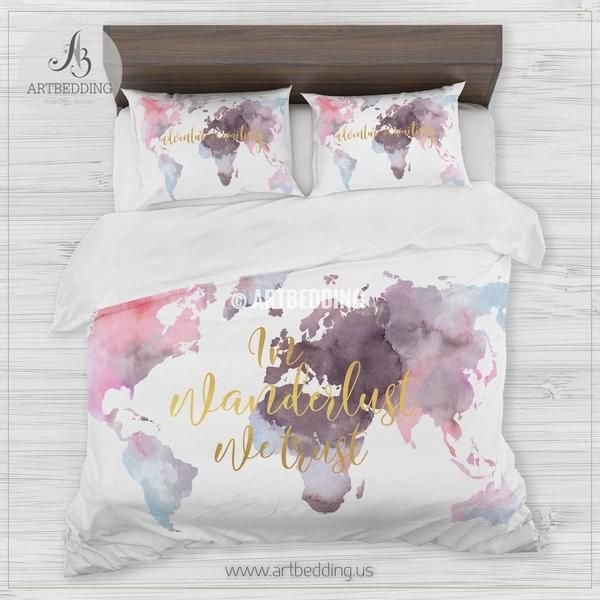 In wanderlust we trust serene watercolor world map bedding bohemian in wanderlust we trust serene watercolor world map bedding bohemian wanderlust world map duvet cover gumiabroncs Gallery