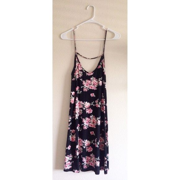 Dark Floral Strappy Shift Dress Dark floral dress • Black with pink floral design • Loose shift dress-- not form fitting at any point • Can fit a medium to a large comfortably • Thin, soft, breathable material • Only worn twice, good as new, no flaws Dresses