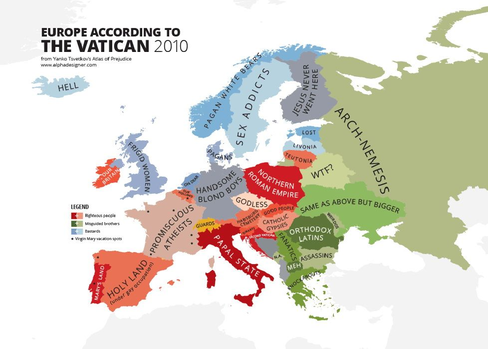Europe According To The Vatican Funny Maps Map Vatican