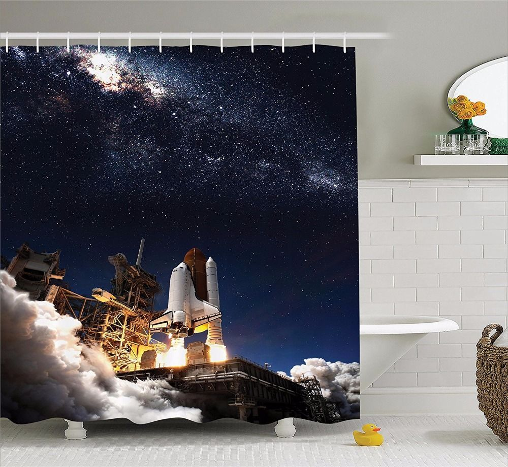 high quality arts shower curtains starry sky series rocket launch