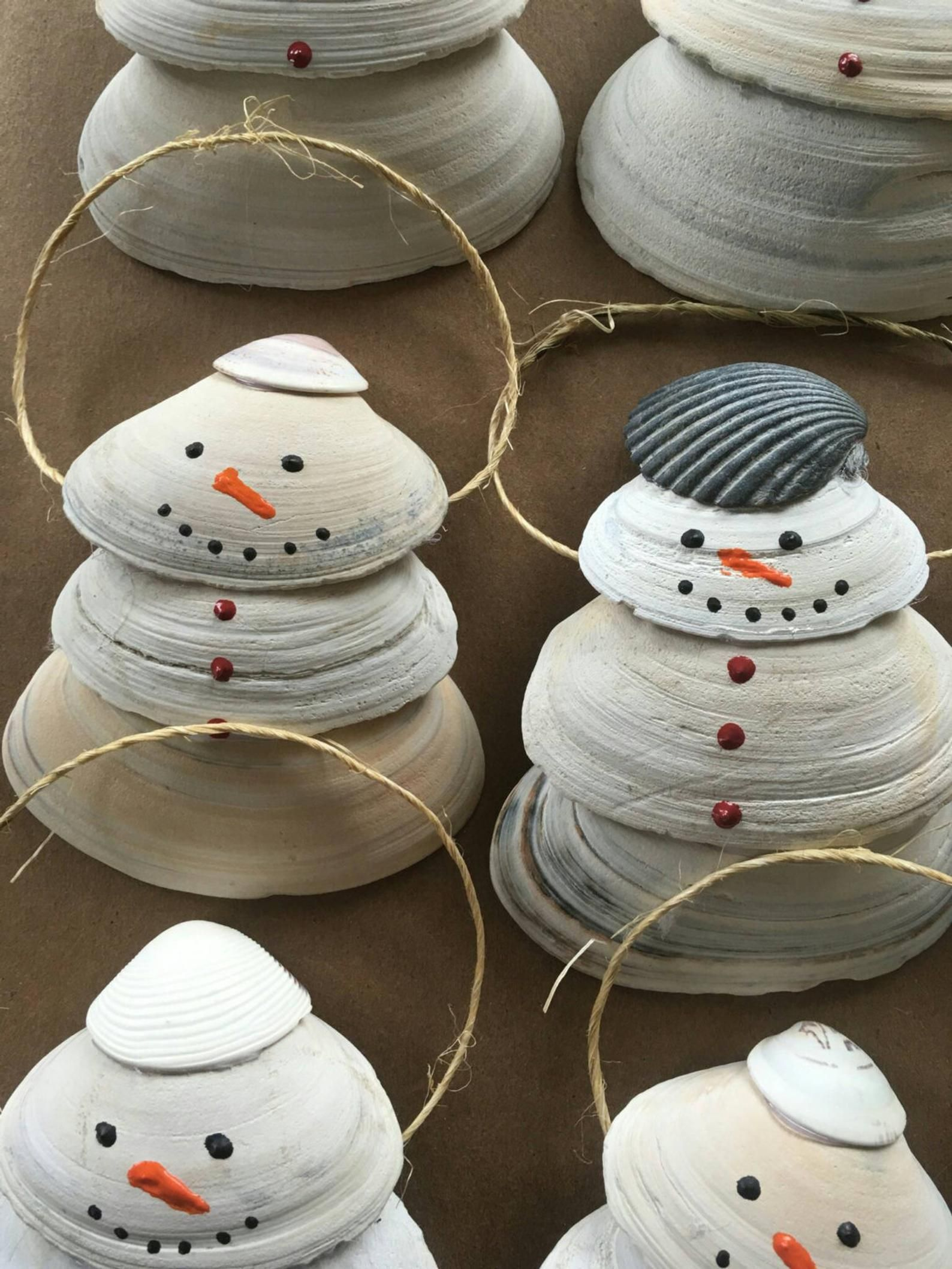 Shell Snowman Ornaments Seashell crafts, Seashell