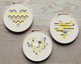 Geometric modern cross stitch heart patterns by AnimalsCrossStitch