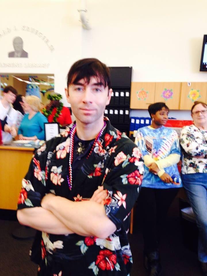 So many people wore terrific Hawaiian shirts!