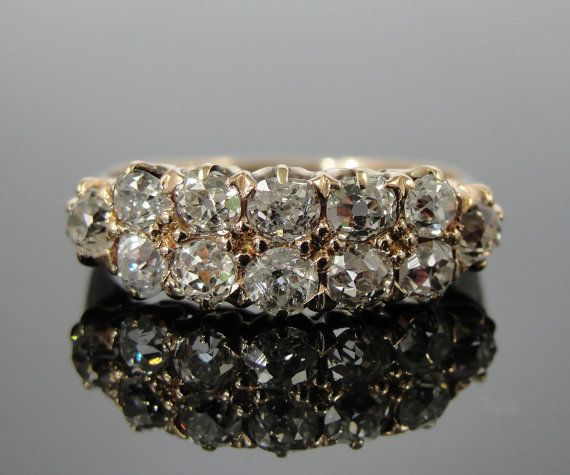 Old Mine Cut Diamonds in Antique Victorian 14 karat Rose Gold Double