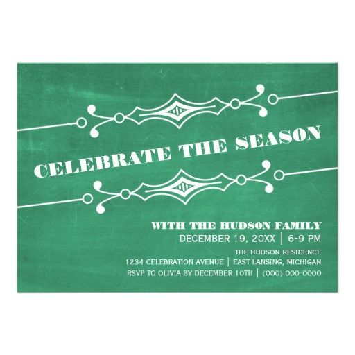 Green Slanted Chalkboard Holiday Party Invite Holidays - holiday party invitation
