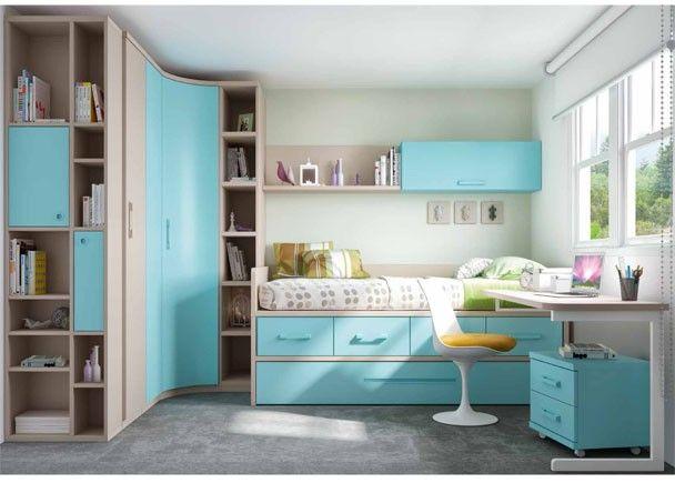 Habitaci n infantil con cama nido armario rinc n for Habitacion juvenil cama nido