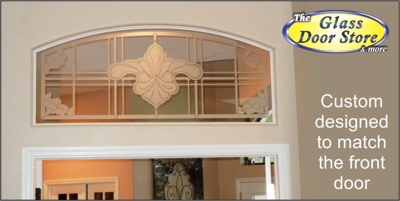 Etched Glass Transom Above The French Doors Inside The House. This Matches  The Front Door